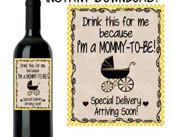 Pregnancy Announcement, Baby Announcement Wine Bottle Label, Custom Wine Label Pregnancy, INSTANT DOWNLOAD Printable Wine Label