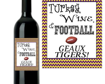 Thanksgiving & Football Printable Wine Labels - LSU