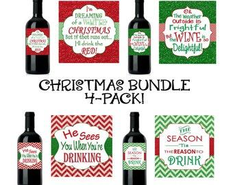 Christmas Bundle - 4 Designs!! Christmas Wine Label, Custom Christmas Wine Label, Christmas Wine, INSTANT DOWNLOAD DIY
