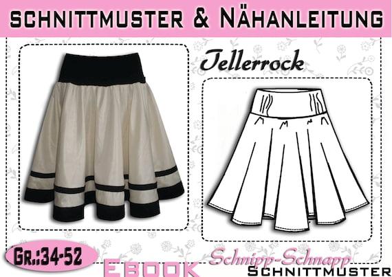 pdf.Schnittmuster & Nähanleitung Tellerrock Gr:34-52 | Etsy