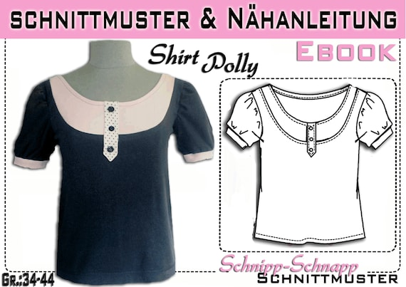 pdf.Schnittmuster/Ebook Shirt Polly Gr:36-44 | Etsy