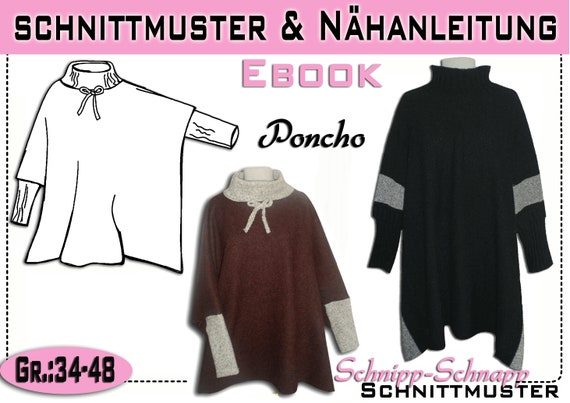 pdf.Schnittmuster/Ebook Poncho aus Walkloden Gr:34-48 | Etsy