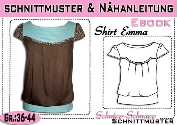 pdf.Schnittmuster/Ebook Shirt Emma Gr:36-44 | Etsy