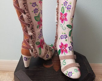Hand Painted Anthropologie Halter Ruffle Boots Size 6.5