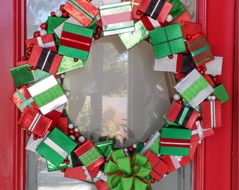 Custom Hand Made Holiday Gift Box Wreath