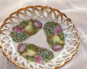 Vintage Hand Painted Fruit Saucer by Fan Crest