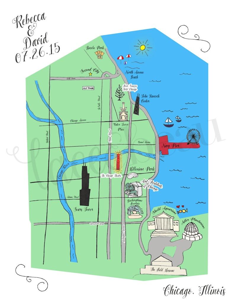 Chicago Map Printable.Custom Wedding Map Chicago Map Printable Diy Map Of Wedding Etsy