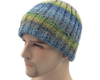 Blue Rustic Seafarer beanie festival hat Summer hat Hand knitted hat Summer beanie, silk hat beanie, hats for men, knitted hat Gifts for him