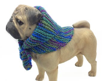 blue Cotton Dog scarf, puppy clothes, dog accessories dog scarves dog neck warmer knitted dog clothes  dog bandana pet scarves pug clothes