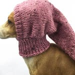 Dusty Pink Greyhound Snood Dog Hat lurcher, Italian greyhound, whippet, puppy clothing, dog clothes, dog snood, galgo pixie, accessory