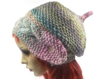 07b6e54db2f Noro Silk Slouch beanie pixie hat festival hat ladies woolly beanie Hand  knitted hat Slouchy hat Hats for women elven beanie