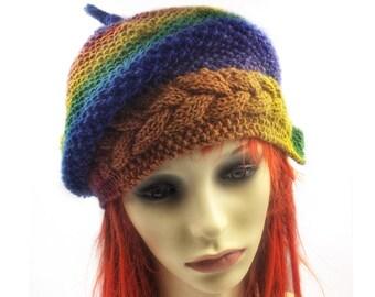 Multi Slouch beanie, winter hat, pixie hat, festival hat, ladies woolly beanie, Spring beanie, Summer hat, Slouchy hat, Hats for women