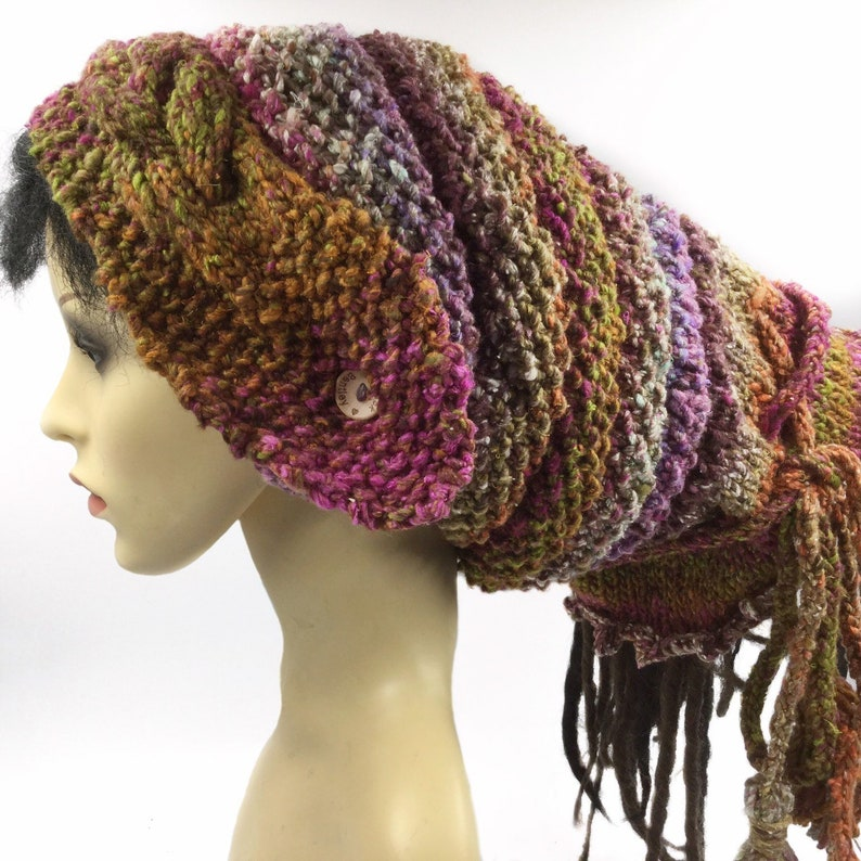 cdc4dfae687 Silk mix Dreadlock Hat slouchy beanie Dreads Hat Tube Dreads