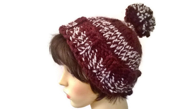 396f718d79e Brown Bobble hat ski hat woolly hat pompom hat pom pom