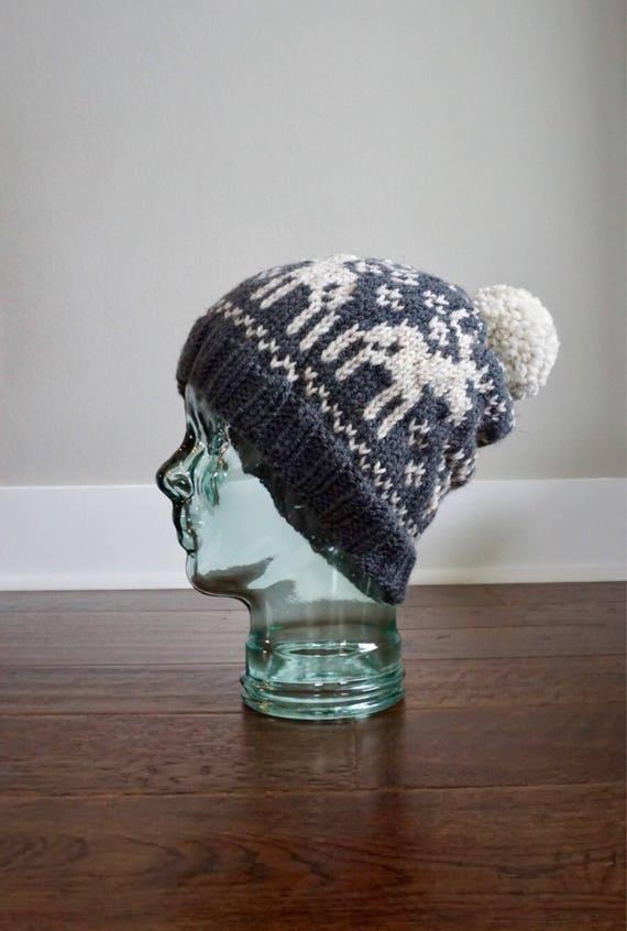 9a0c6127297 Fair Isle Knit Hat. Fair Isle Knit Moose Hat. Slouchy Knit