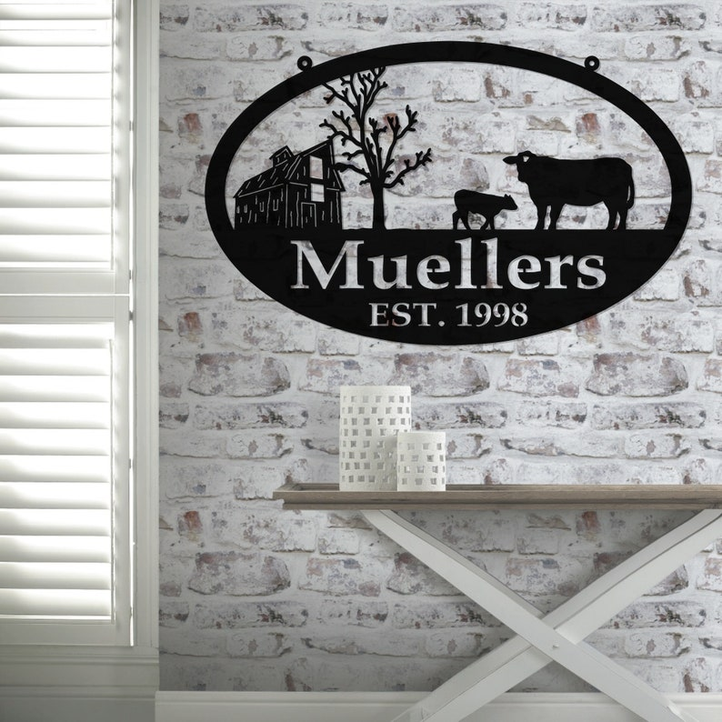 barn and cow Metal Wall Art Personalized Family Name Metal Sign Housewarming Gift Wedding Gift Personalized Gift Metal FARM SIGN