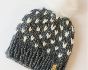 fd99c63d364 Dark Gray Heart Beanie
