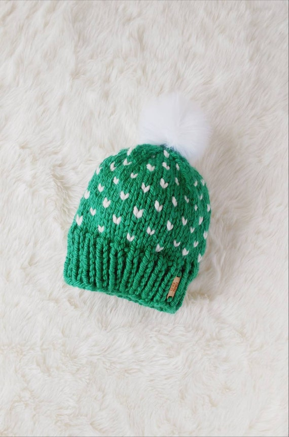 6841a109592 Emerald Green Hand Knit Toddler Pom Pom Hat Heart Hat