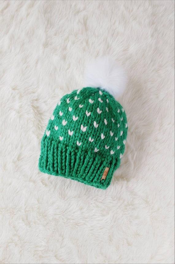 ff6f1f61d89 Emerald Green Hand Knit Toddler Pom Pom Hat Heart Hat