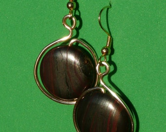 Natural ironstone dangles with gold tone wire