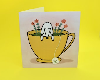 Tea Cup Pup Card (Set of 5) - Cute puppy blank greeting card dog and tea lovers whimsical gift