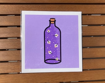 "Fireflies in a bottle cute 8x8"" square art print"