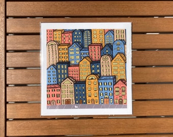"""Colorful whimsical cityscape city buildings 8x8"""" square art print"""