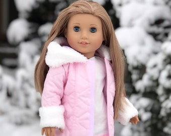 Cotton Candy - Doll Clothes for 18 inch Doll - Pink Parka with Hood, Short Ivory Dress and Pink Boots