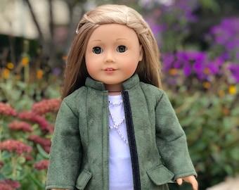 Autumn Stroll - Doll Outfit for 18 inch Dolls - Green Coat, White Blouse, Black Velvet Leggings, Black Boots