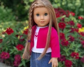 Fuchsia Heart - Doll Clothes for 18 inch American Girl Doll - 4 Piece Outfit - Fuchsia Jacket, T-Shirt, Denim Skirt and Boots