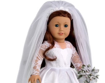 Princess Kate - Doll Clothes for 18 inch American Girl Doll - Royal Wedding Dress with White Shoes, Bouquet and Tulle Veil