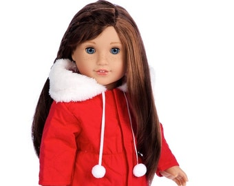 Winter Extravaganza - Clothes for 18 Inch  Dolls - 3 Piece Outfit - Red Quilted Parka with Black Leggings and White Boots