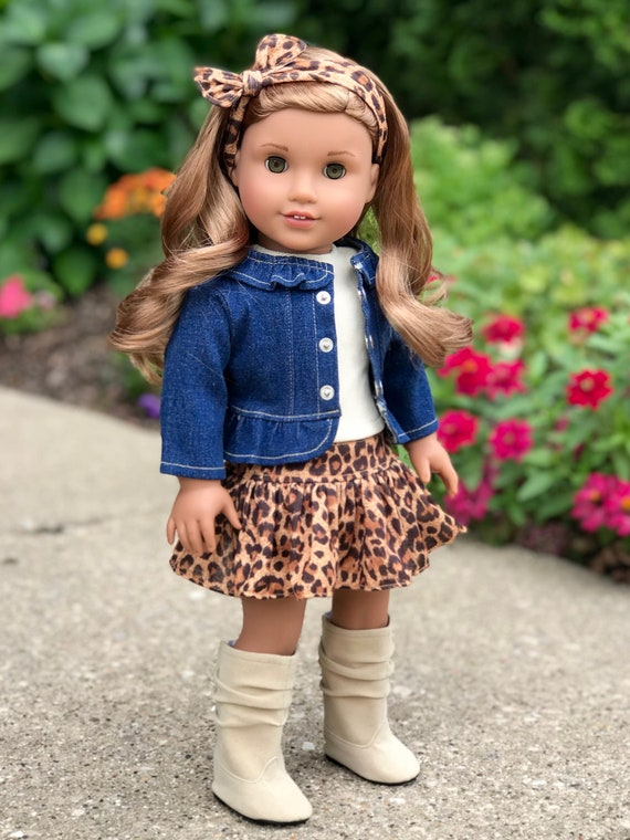 """Boots /& Snowflake Leggings For 18/"""" American Girl Doll Clothes Fur Vest Top"""