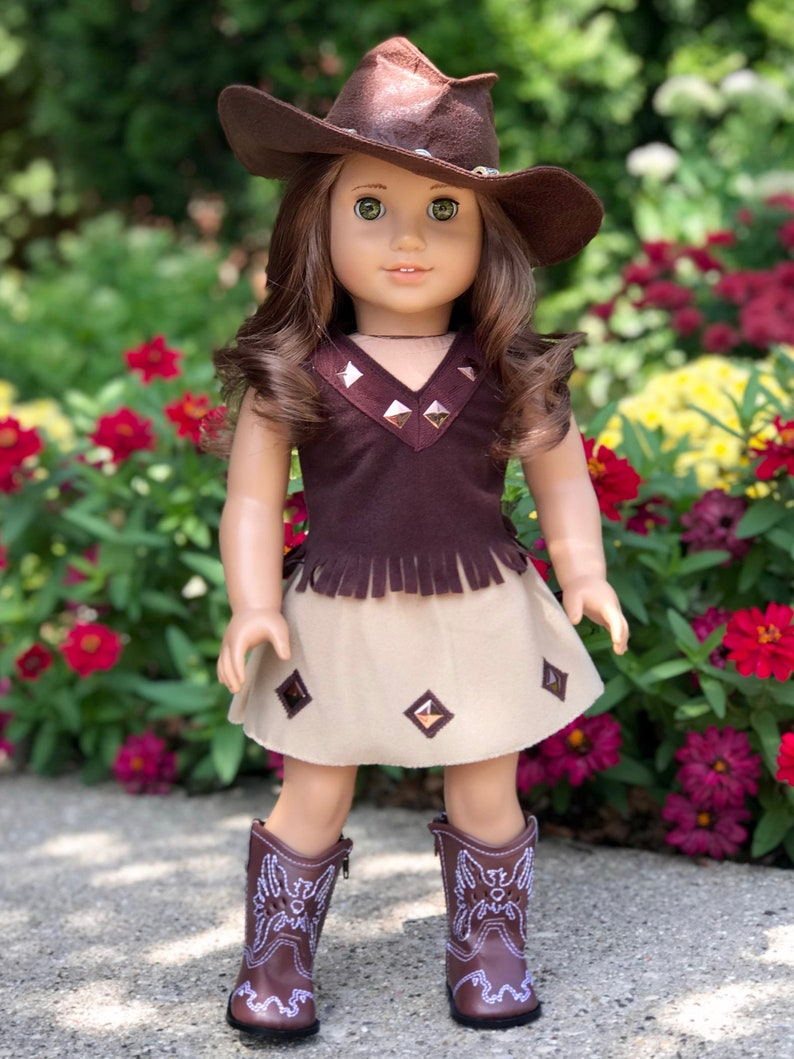 26a9041768900 Cowgirl - Clothes for 18 inch American Girl Doll - 4 Piece Western Outfit -  Cowgirl Hat, Skirt, Top and Cowgirl boots