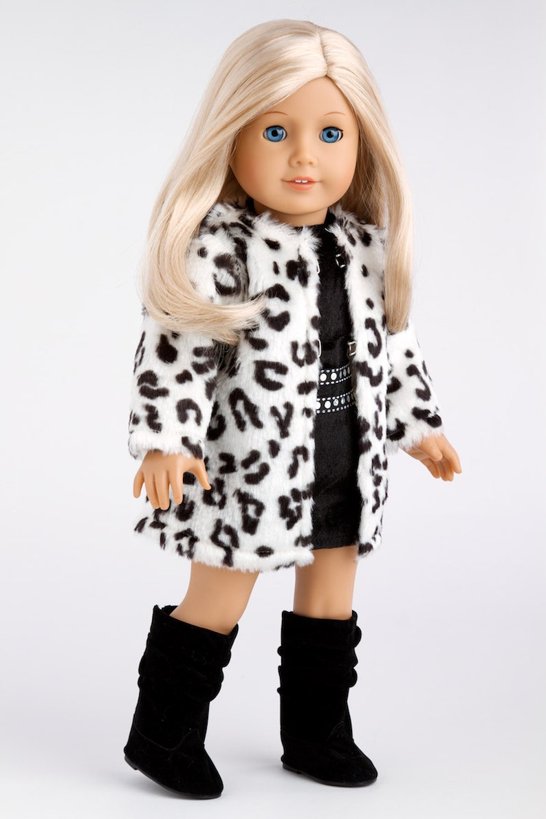 Doll Clothes for 18 inch Doll Glamour Girl Snow Leopard Faux Fur Coat with Black Velvet Dress and  Boots