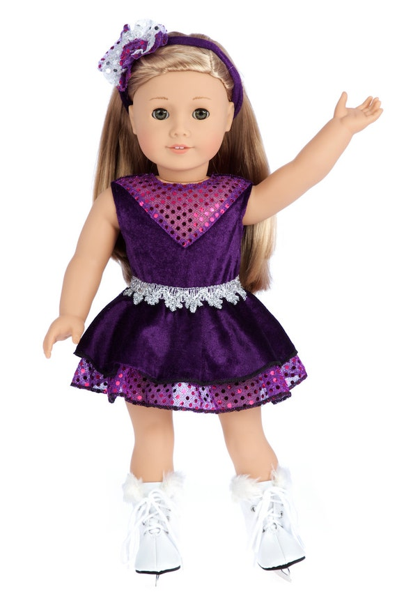 White Ice Skates Girl Skating 18 inch Doll Clothes Fits American Dolls