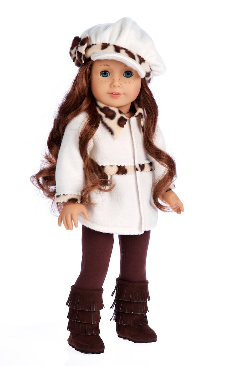 Coat Marshmallow Doll Clothes  for 18 Inch Dolls- 4 Piece Doll Outfit Hat Leggings and Boots