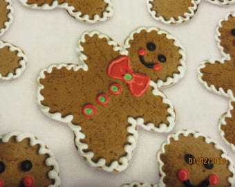 Christmas Gingerbread People    -Fabric-Priced Per 1/2 Yd-   Free Shipping