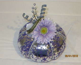 Beautiful Lavender/Silver Fabric Pumpkin (small) - Free Shipping