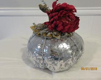 Beautiful Silver/Gray Fabric Pumpkin (small) - Free Shipping