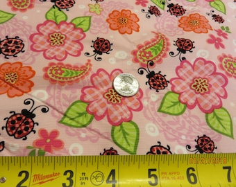 Cotton Corduroy  Pink with Flowers and Ladybugs-Priced Per 1/2 Yd-Free Shipping