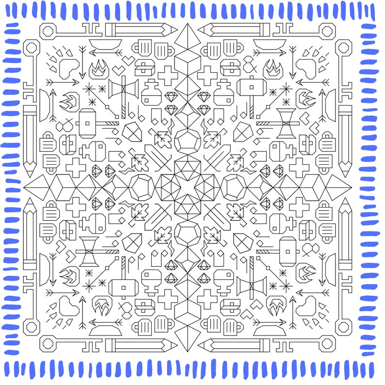 Dungeons and Dragons D&D Blackwork Pattern image 0