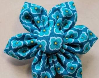 Blue teal turquoise Dog Collar flower, floral, Vintage Dog Collar Flower, flower for dog collar attachment,