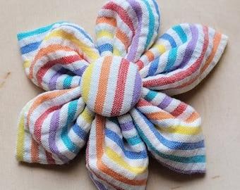 Rainbow stripe Dog Collar flower, Rainbow Stripe Dog Collar Flower, flower for dog collar attachment