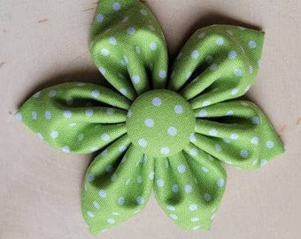 Green polka dot Dog Collar flower, floral, Vintage Dog Collar Flower, flower for dog collar attachment,