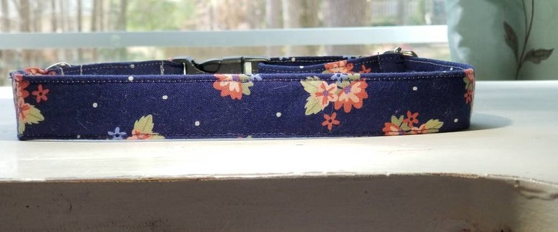 Navy blue and Floral Fabric Dog collar unique dog collar image 0