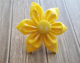 Yellow polka dot Dog Collar flower, floral, Vintage Dog Collar Flower, flower for dog collar attachment,