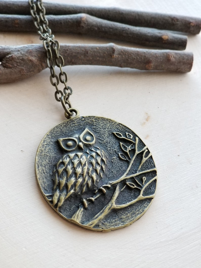 Owl Necklace bronze owl jewelry owl jewelry owl pendant image 0