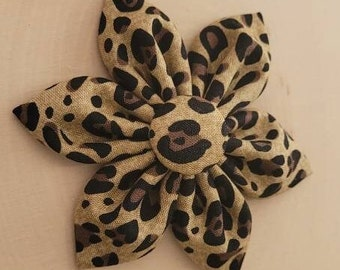 Leopard Print Black and Gold Dog Collar Flower Attachment