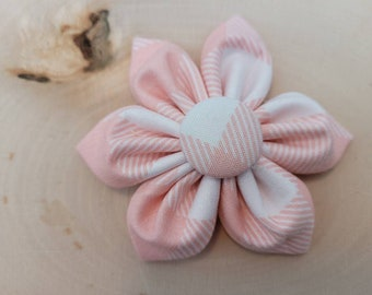 Pink plaid Dog Collar flower, dog bow, Vintage Dog Collar Flower, flower for dog, collar attachment,